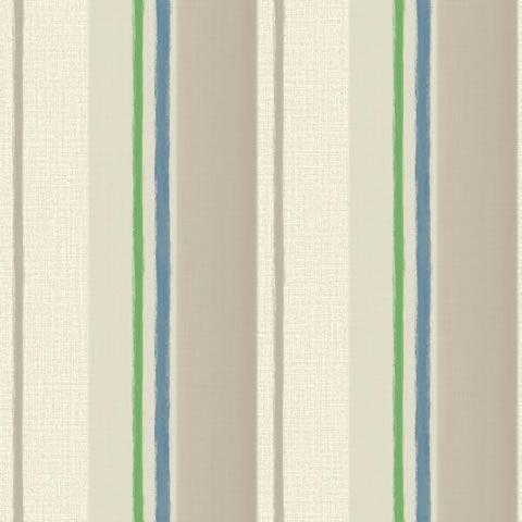 Grandeco Boho Chic Grey, Linen, Blue and Green Stripe Wallpaper