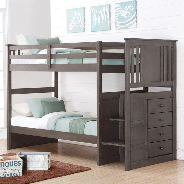 Donco Kids Princeton over or over Full Stairway Storage Bunk Bed in Slate