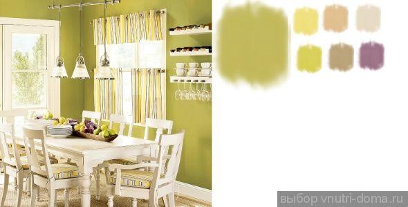 Пожухло-зеленый с уходом в желтый. Оптимистичный и при этом сложный оттенок. В солнечный день будет казаться желтым, в пасмурный день — зеленым. Идеально сочетается с белым цветом и желтыми оттенками (мимоза, желтое яблоко, груша). Для контраста можно использовать фиолетовые оттенки.
