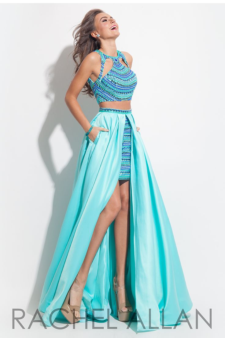 two piece dress with a high low skirt and embellished top
