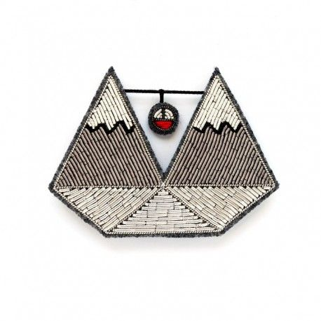 """LARGE HAND-EMBROIDERED """"MOUNTAIN"""" BROOCH"""
