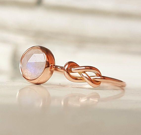 Mondstein Ring Infinity-Knoten-Ring Verlobungsring Blauer