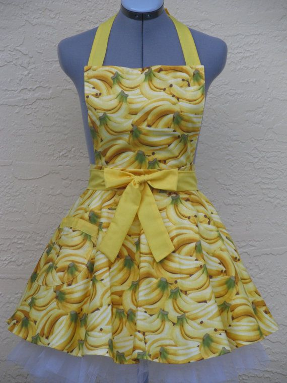 Ready to shipPin Up Colorful Bright Banana's by ApronsByVittoria, $33.00: