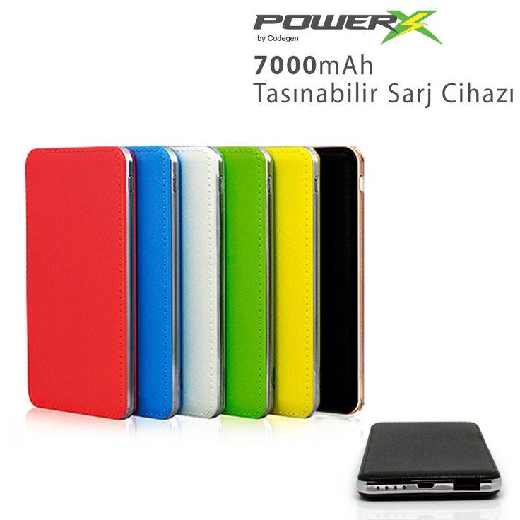 CODEGEN POWERX IF-80 7000mAH SLIM DIZAYN POWERBANK  Siyah, Beyaz, Kırmızı, Mavi , Yeşil ,Pembe ,Sarı  Rengarenk Seçenekleriyle... #powerbank #sarj #samsung #htc #iphone #ipad #tablet
