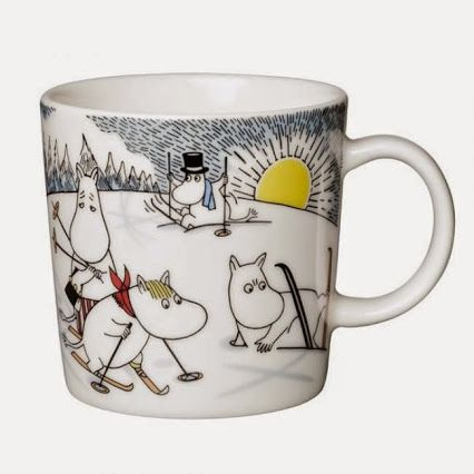 NEW Moomin Mug: Skiing with Mr. Brisk // Winter 2014. Available in September. More Moomin stuff: www.moominfans.com
