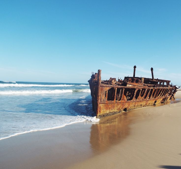 Maheno Shipwreck - Fraser Island! Check out my blog post on exploring Fraser Island by 4WD Tag Along Tour! It was the most amazing experience! #fraserIsland #australia #travelaustralia #eastcoastaustralia #travelblogger #travel #travelreview