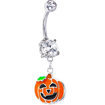 $6.99 Happy Jackolantern Belly Ring #piercing #bodymodification #bellyring