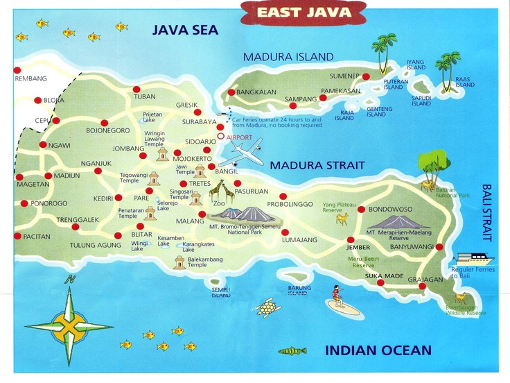 East Java is a province of Indonesia. It is located on the eastern part of the island of Java and includes the neighbouring islands of Madura, and the Kangean, Sapudi, Bawean, and Masalembu groups. Wikipedia Area: 18,503 sq miles (47,922 km²).