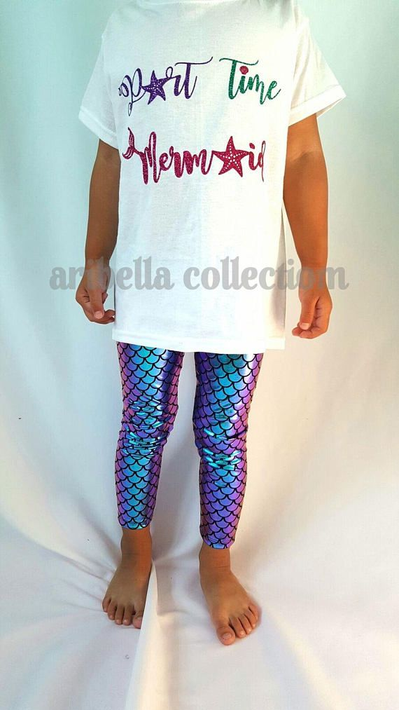 Aribella Collection Baby Toddler Girls Little Mermaid Leggings Fish Scale Pants in Multi Color Iridescent Color. PLEASE NOTE: Due to the manufacturing process of mixing ink/printing foil print, the colors from different batches of the multi color iridescent fabric may vary