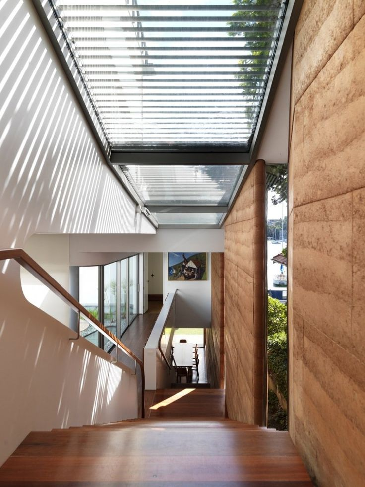 Rammed earth in residence.  Look at the edge detail at the window.  Luigi Rosselli Architect