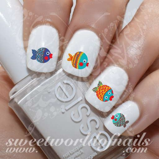 Fish Nail Art Cute Fish Nail Water Decals Water Slides - The 25+ Best Fish Nails Ideas On Pinterest Fish Nail Art, Nail