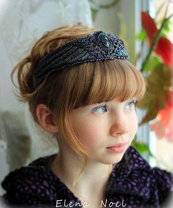 Ailes - serre-tête perlé avec spectrolite naturel - perle broderie Art