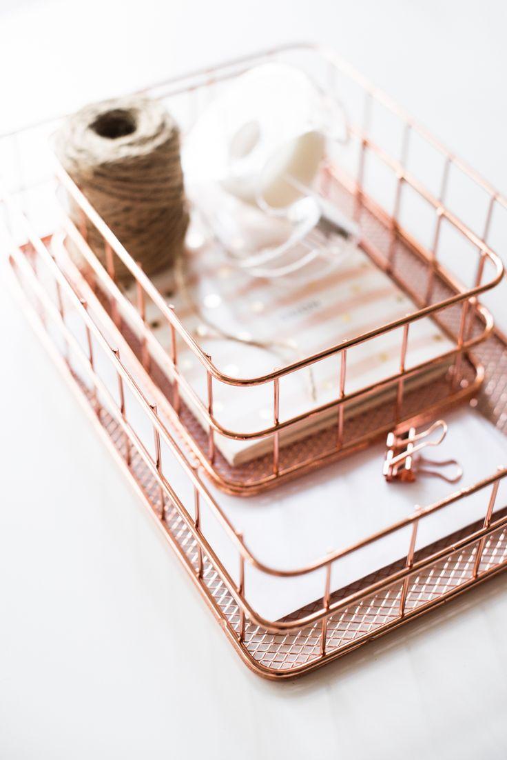 Металлические корзины для мелочей «розовое золото» — трендовый органайзер для домашнего офиса #rosegold #copper