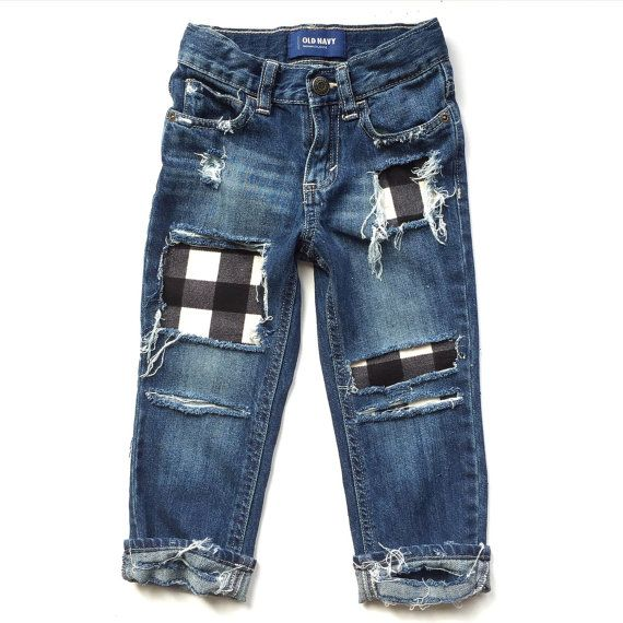 Our Grandpas Flannel patched jeans are distressed by hand and made with love for your little one. Stay ahead of the fashion game by adding soft,