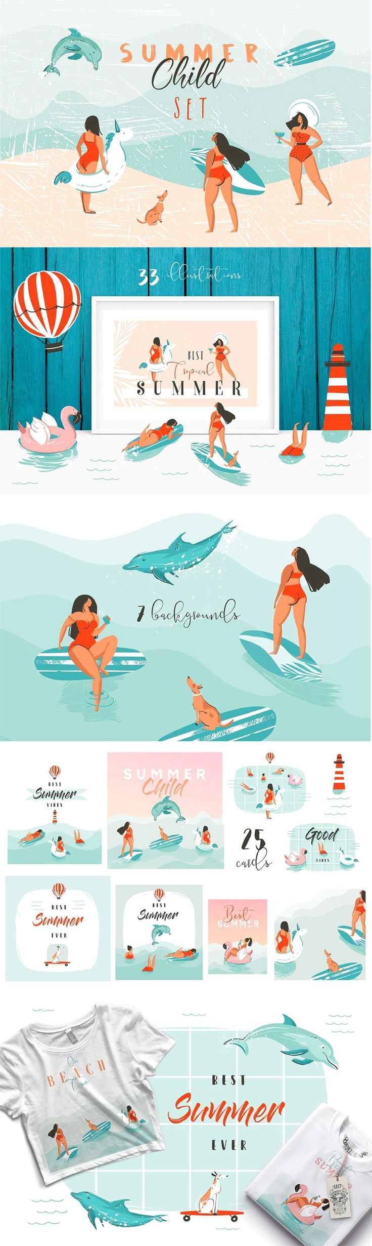Hand drawn summer time set with  18 seamless patterns in EPS,JPG and PNG files. 33 cute simple graphic illustrations of beach swimming girls and boys,surfers,girls on skateboards,dogs,unicorn and pink flamingo float buoy rings and dolphins in EPS,JPG and PNG files. 25 different cards with summer typography quotes in EPS,JPG and PNG files. 7 backgrounds in EPS,JPG and PNG files. and BONUS Weekly planner in EPS and JPG files. #summer #illustration #sea #tshirtdesign #tshirt