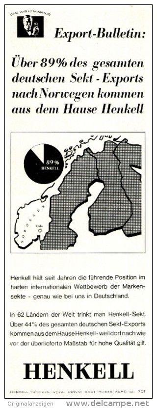 Original-Werbung/ Anzeige 1965 - HENKELL SEKT IN NORWEGEN -  ca. 75 x 220 mm