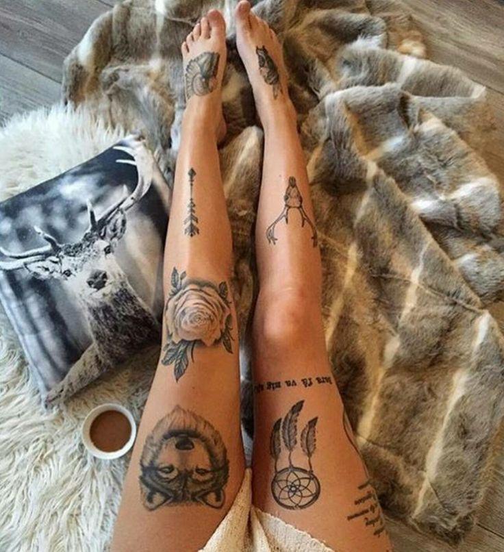 Wildlife tattoos, leg tattoo, wolf, dream catcher