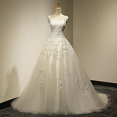 Ballkleid+Übergrößen+/+Extraklein+Hochzeitskleid+-+Schick+&+Modern+Vintage+Inspirationen+Pinsel+Schleppe+Rundhalsausschnitt+Spitze+/+Tüll+–+CHF+₣+269.99