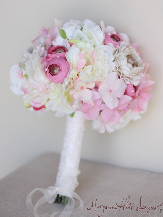 Silk Peony Bride Bouquet Shabby Chic Vintage Inspired Rustic Wedding (Item Number 140105) on Etsy, $99.99