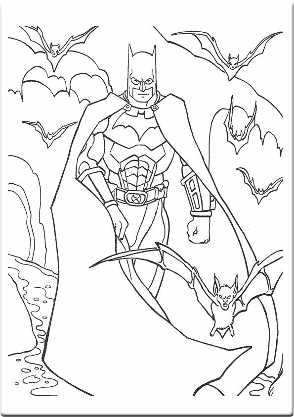 Batman Coloring Sheet Surrounded By Bats