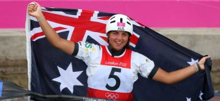 <h5>Jessica Fox</h5> <p>Jessica Fox of Australia celebrates after the Women's Kayak Single at the London 2012 Olympic Games..</p> © Getty Images