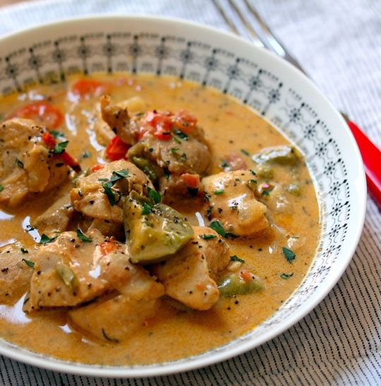 West African chicken mafé (chicken stew in peanut sauce) Recipe Main Dishes with boneless chicken skinless thigh, boneless skinless chicken breasts, kosher salt, ground black pepper, chopped garlic, ground cayenne pepper, vegetable oil, yellow onion, red bell pepper, green bell pepper, jalapeno chilies, low sodium chicken broth, creamy peanut butter, tomato paste, tomatoes, dried thyme, fresh ginger root, coconut milk, chopped cilantro