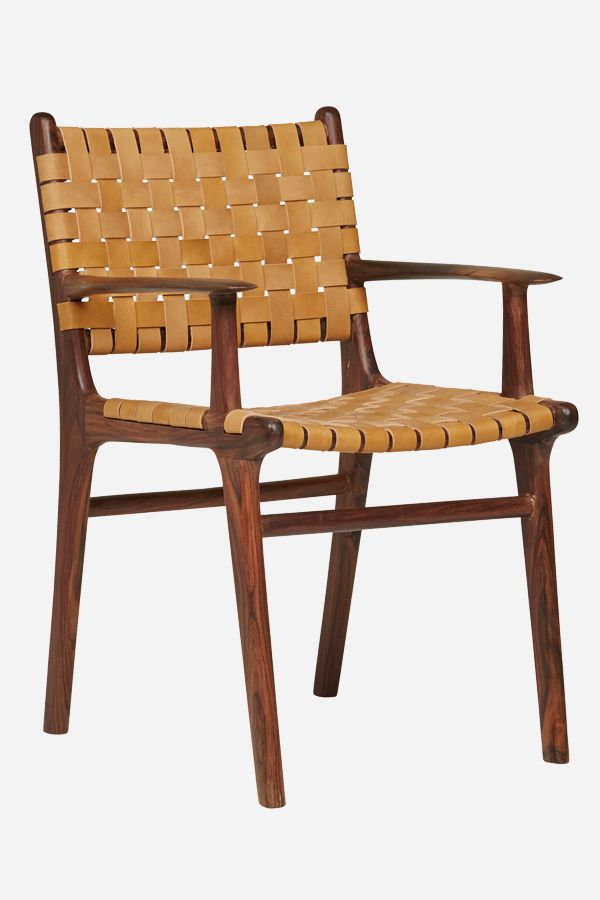 Leather Dining Carver Chair, Strapping - Rosewood & Tan