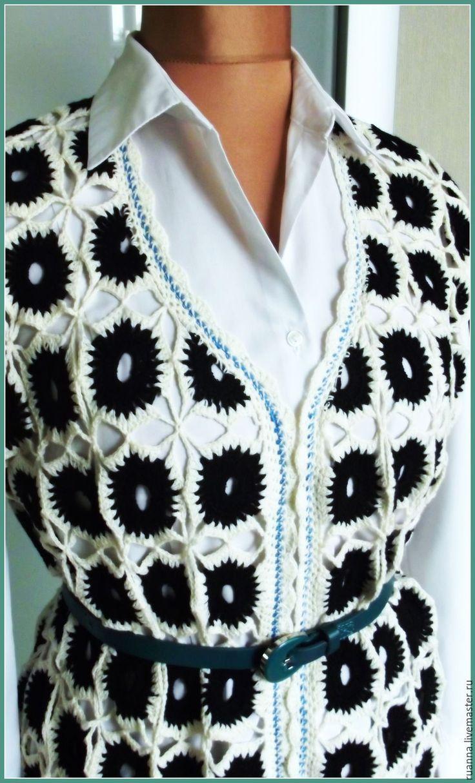 Купить Кардиган вязаный без рукавов - орнамент, пальто вязаное, кардиган вязаный, кардиган крючком
