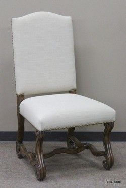 Theodore Alexander chair with walnut base, linen colored upholstery, nailhead accents.  Brand new on consignment from designer home furnishings store. #OnTheShowroomFloor #Theodore #Alexander #Chair #Walnut #Linen #NEW #Designer #StillGoode
