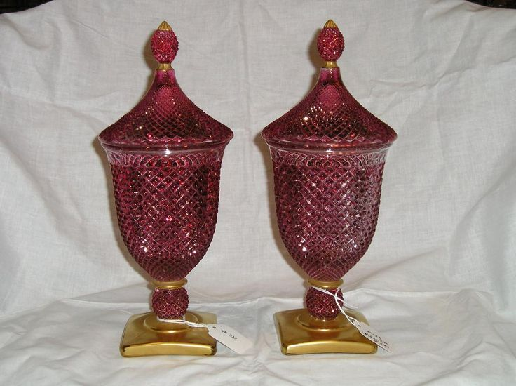 Westmoreland English Hobnail Master Candy Ruby Flashed w/ Gold Trim from Antik Avenue on Ruby Lane