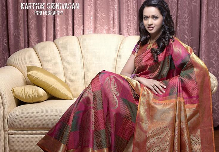 Actress Bhavana in Silk Saree at Photo Collection