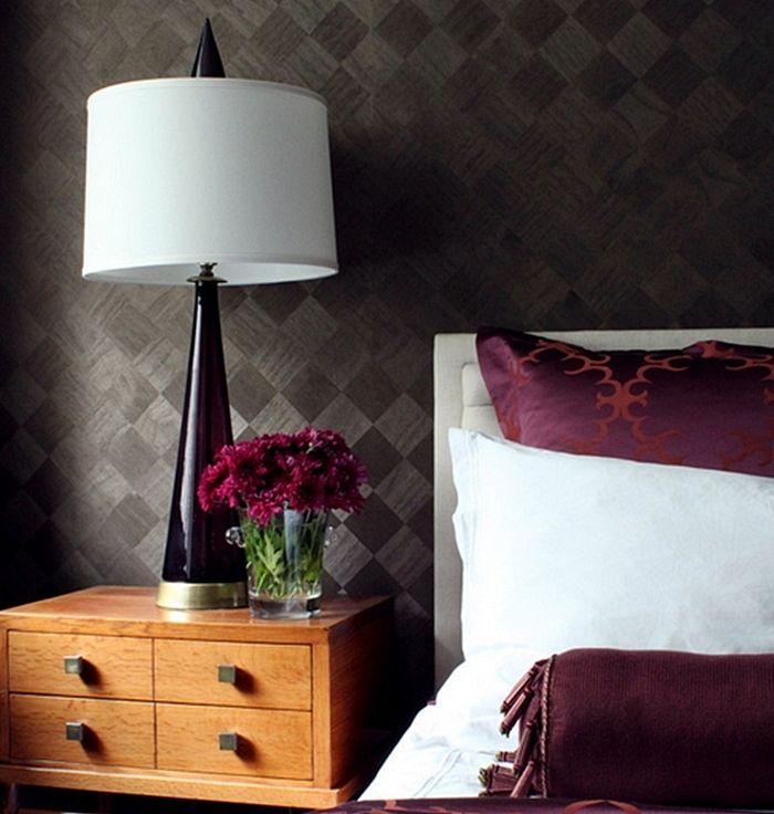 papel de parede quadriculado para quarto de casal