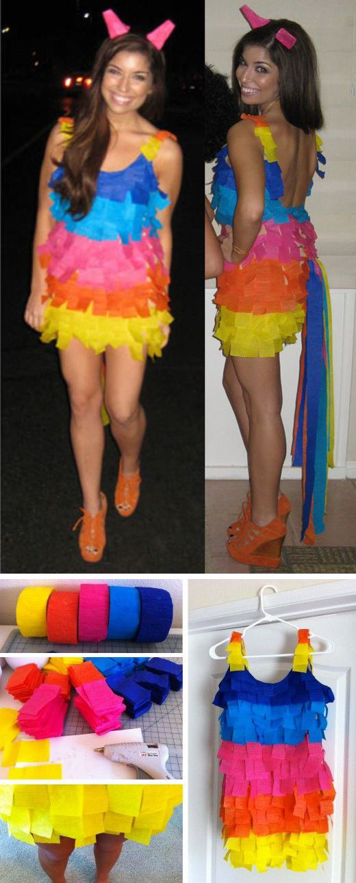 Too cute! I would so do this but I would get really tired of everyone hitting me with a bat..Creative Halloween Costume: DIY Piñata Costume! #diy #halloween #costume