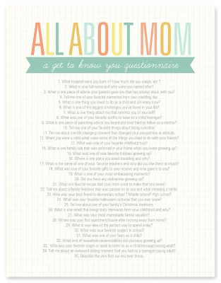 Get to know Mom better with this All About Mom printable questionnaire....reverse
