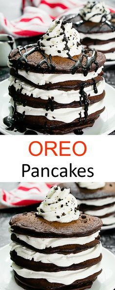 Oreo Pancakes. Chocolate cookies and cream flavored pancakes stacked together with layers of whipped cream. A fun breakfast or brunch!