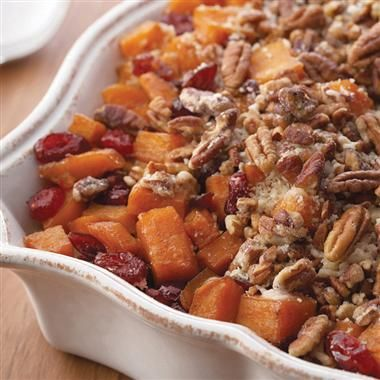 Roasted Sweet Potatoes with Cinnamon Pecan Crunch. perfect for Thanksgiving!
