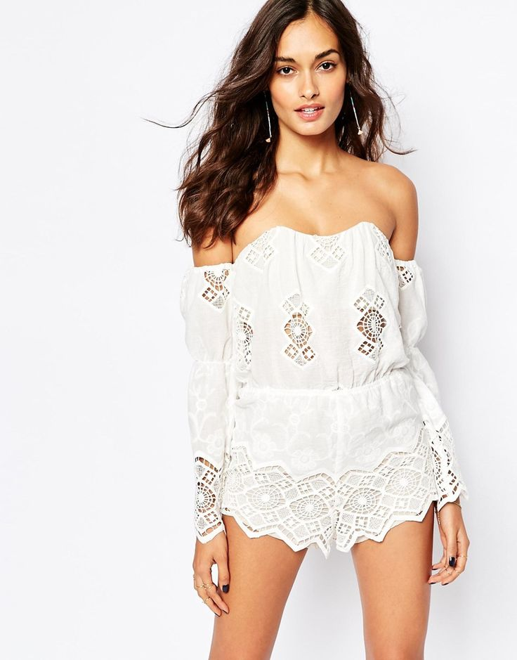 Stone Cold Fox Aden Embroidered Playsuit in White