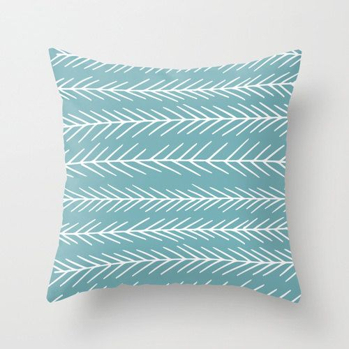 This pillow cover features my original illustration of fir tree branches on your choice of color (Color in main picture is : Marine Blue). A fresh