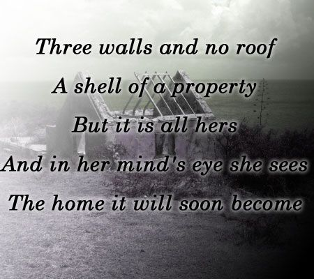 tanka: home poem on background of a ruined shack
