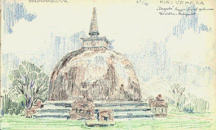 Ørnsholt rejste 1955-56 til og rundt i Sri Lanka og Indien. Kridttegningen er fra Sri Lanka, Polonnaruwa.