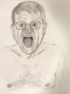 David Hockney self portrait   He looks angry because of how his face is and how his shoulders look