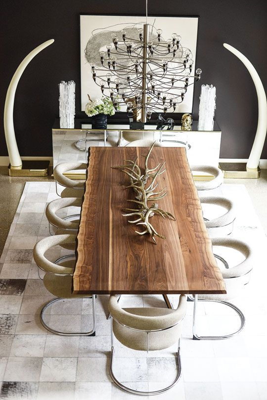 Walnut live edge dining table, faux elephant tusks, Flos chandelier + chrome Thonet dining chairs || Tompkins Lloyd InteriorsVisit for more inspiring images http://www.delightfull.eu/en/all-products.php
