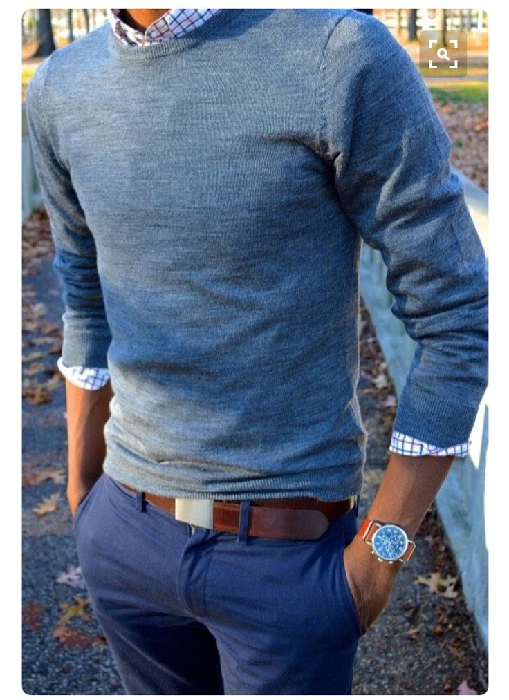 Stitch Fix Men September 2016 - men's preppy, business casual look.  Plaid button up, crew neck sweater and perfect fitting pants. Great fall look.
