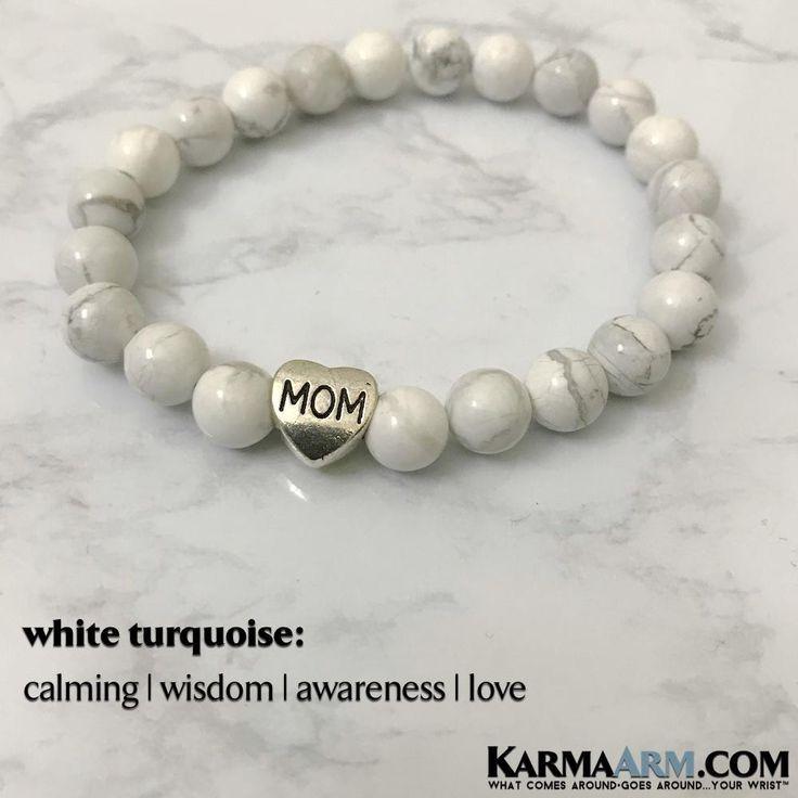 BoHo Yoga Bracelets   Meditation Jewelry   Beaded Bracelets 💗 MOTHER'S LOVE: White Turquoise   Heart MOM   Reiki Healing Yoga Bracelet. #GiftsForMom #Mommy #MothersDay