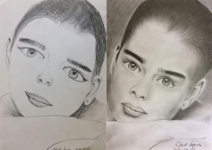 Jobb agyféltekés rajz - előtt-utána - Dávid Ágnes rajzai