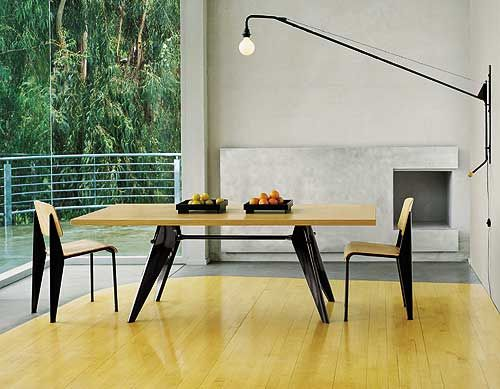 Very Prouvé!  Standard chairs, EM Table, Potence lamp designed by Jean Prouvé, manufactured by Vitra.