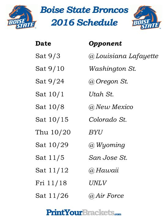 Printable Boise State Broncos Football Schedule 2016