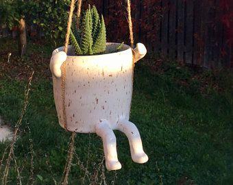 Sally the Swinging Pot, cactus pot, flower pot ,cactus planter, pottery , whimsical decor, hanging pot,Handmade ceramic hanging planter,