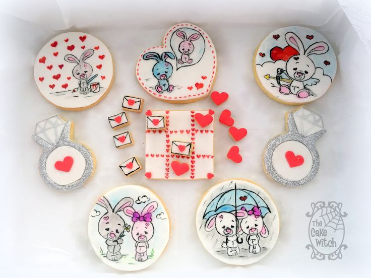 Valentines Cute Bunnies in love decorated Biscuits/Cookies