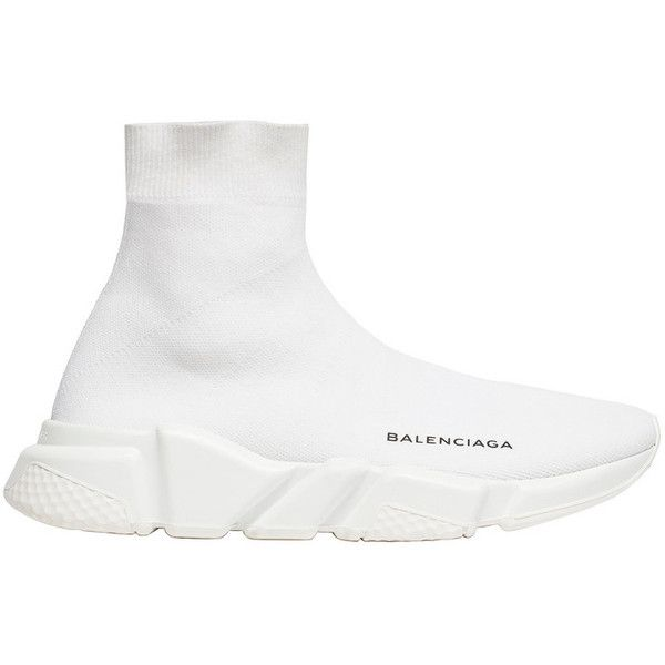 Balenciaga Speed Trainer (€510) ❤ liked on Polyvore featuring men's fashion, men's shoes, men's sneakers, mens white shoes, balenciaga mens sneakers, balenciaga mens shoes and mens white sneakers
